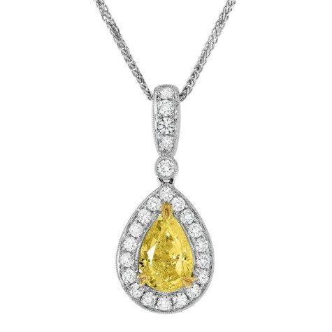 2.52 CT. T.W. Yellow Diamond Pendant in 18K White Gold