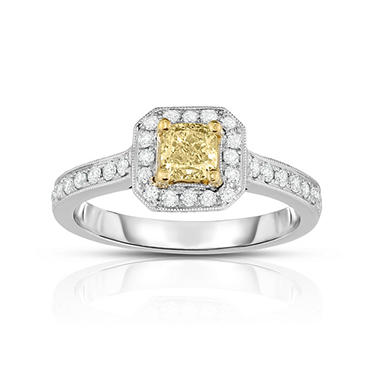 .75 CT. T.W. Yellow Diamond Ring in 18K White Gold
