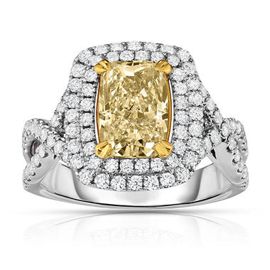 2.90 CT. T.W. Yellow Diamond Ring in 18K White Gold
