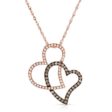 .30 CT. T.W. Diamond Heart Pendant in 14K Rose Gold