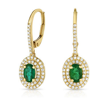 T W Emerald Earrings With 0 35 Ct Diamonds In 14k Yellow Gold