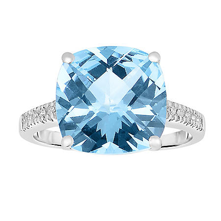 7.5 CT T.W. Cushion Cut Treated Blue Topaz and Diamond Ring in 14 Karat White Gold