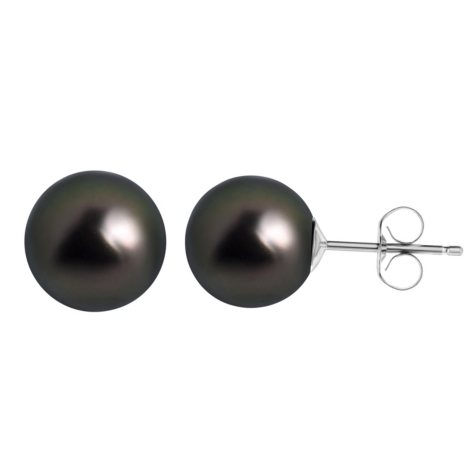 9.5MM Tahitian Pearl Earrings in 14 Karat White Gold