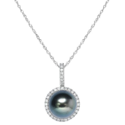 Round Tahitian Pearl and Diamond Pendant in 18K White Gold