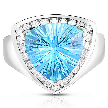 Trilliant Blue Topaz and Diamond Ring in 14K White Gold