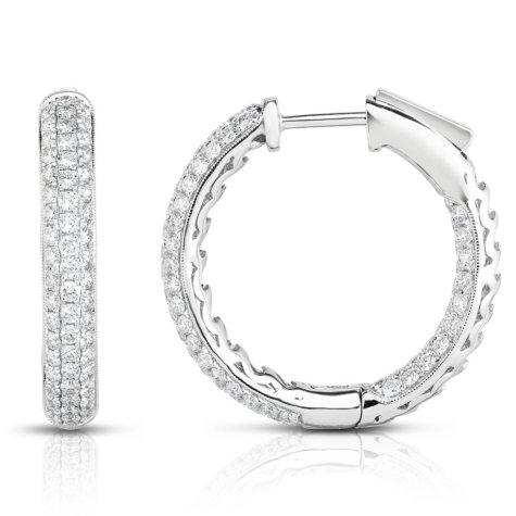 2 CT. T.W. Diamond Earrings in 18K White Gold