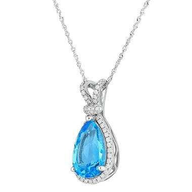 Pear shaped blue topaz pendant with diamonds in 14k white gold pear shaped blue topaz pendant with diamonds in 14k white gold mozeypictures Images