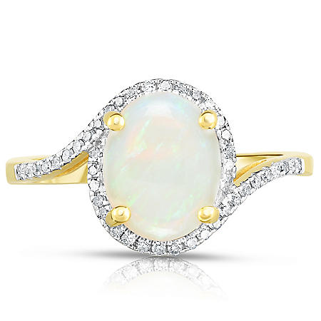Oval Opal Ring with Diamonds in 14K Yellow Gold