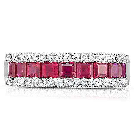 Square Ruby and Diamond Ring in 18 Karat White Gold