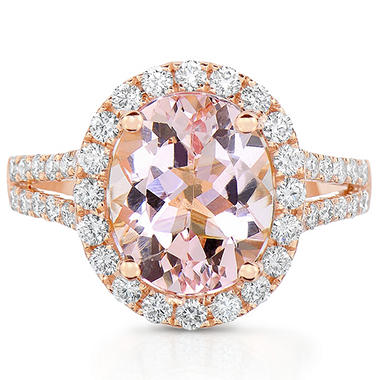 Oval Morganite Ring with Diamonds in 18 Karat Rose Gold