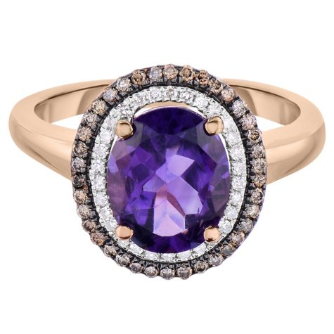 Oval Amethyst and 0.30 CT. T.W. Diamond Ring in 14 Karat Rose Gold