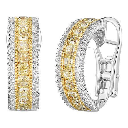 2.58 CT. T.W. Yellow Diamond Earrings in 18 Karat White Gold