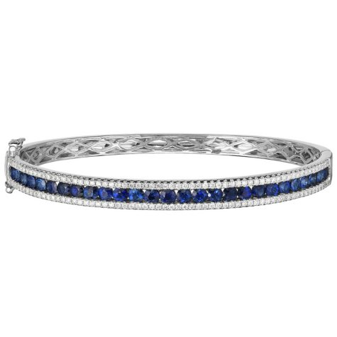 Round Genuine Sapphire and 0.75 CT. T.W. Diamond Bracelet in 14 Karat White Gold