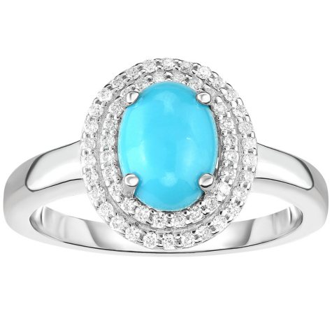 Oval Turquoise and 0.20 CT. T.W. Diamond Ring in 14 Karat White Gold