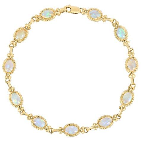 Oval Opal Bracelet in 14 Karat Gold