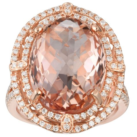 Oval Morganite and 0.30 CT. T.W. Diamond Ring in 14 Karat Rose Gold