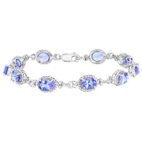 Oval Tanzanite Bracelet in 14 Karat White Gold