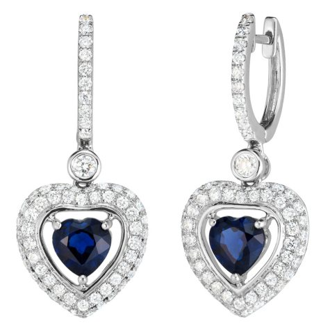 Heart Shaped Sapphire and 1.10 CT. T.W. Diamond Earrings in 18K White gold