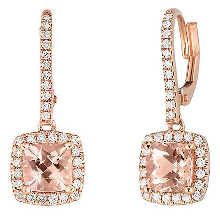 Cushion Morganite and 0.33 CT. T.W. Diamond Earrings in 14K Rose Gold