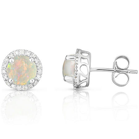Round Opal Earring with Diamonds in 14K White Gold