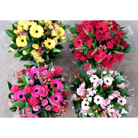 Hand-Tied Euro Mixed Luxe Bouquets, Assorted Colors (4 bouquets)