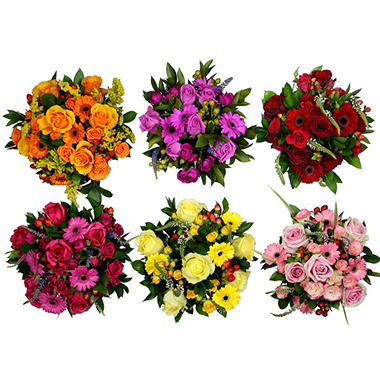 Hand-Tied Euro Mixed Luxe Bouquets, Assorted Colors (6 bouquets)