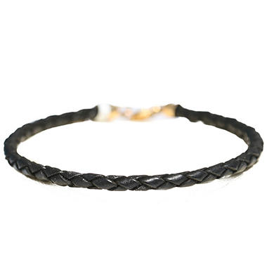 BRAIDED LEATHER BRAC GOLD CLASP