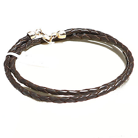 BRAIDED LEATHER BRAC DOBLE GOLD CLASP