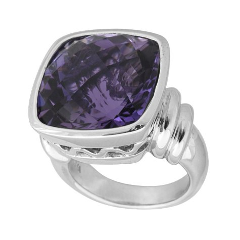 15 ct. Cushion Cut Amethyst & Sterling Silver Ring