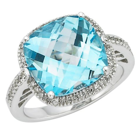 Blue and White Topaz Ring in Sterling Silver