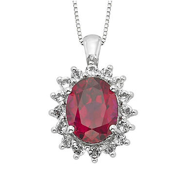 Created Ruby and White Topaz Pendant in 14k White Gold