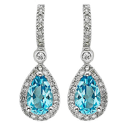 Blue Topaz and Diamond Accent Drop Earrings in 14k White Gold