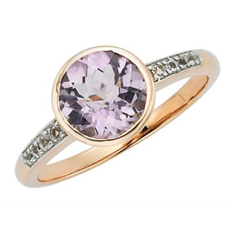 Lite Amethyst and White Topaz Ring in 14k Rose Gold