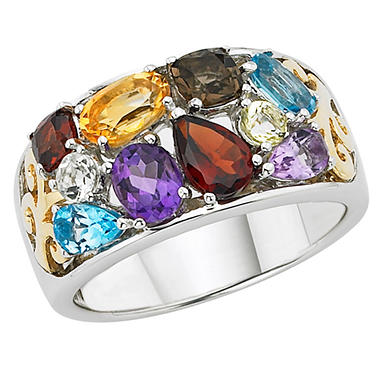 Multi-Gemstone Ring Set in Sterling Silver and 14k Rose Gold