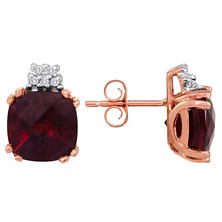5.20 CT. T.W. Cushion-cut Garnet and Diamond Earrings in 14K Rose Gold