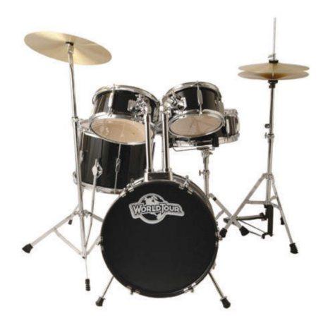 World Tour Jr Complete 5 Piece Drum Set - Black
