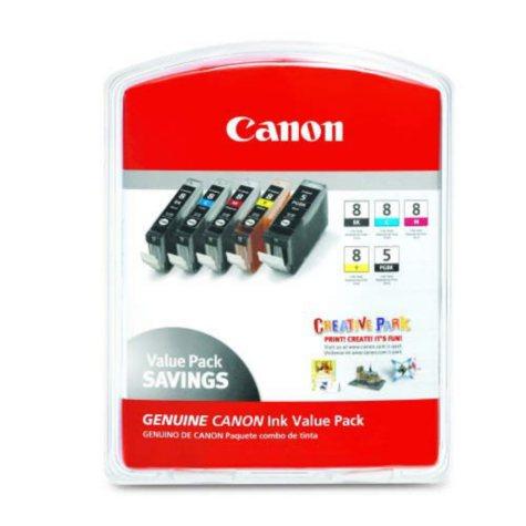 Canon CLI-8 Ink Tank Cartidge, Black/Cyan/Magenta/Yellow/Pigment Black