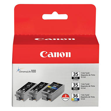 Canon CLI-36 Ink Tank Cartridge, Black/Tri-Color (3 pk.)