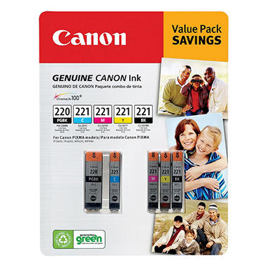 Canon PG-220BK/CL-221 Ink Tank Cartridge, Black/Cyan/Magenta/Yellow/Pigment Black (5 pk.)