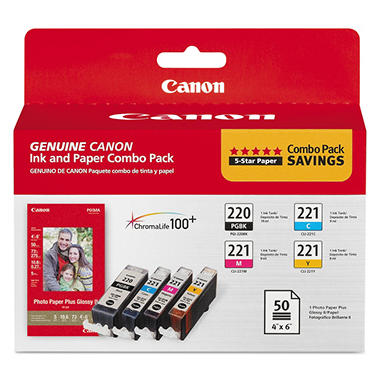 Canon PGI-220/CLI-221 Ink Tank Cartridge & Paper Pack, Black/Cyan/Magenta/Yellow (4 pk.)
