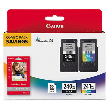 Canon PG-240XL/CLI-241XL High Yield Ink Tank Cartridge & Paper Pack, Combo (2 pk.)