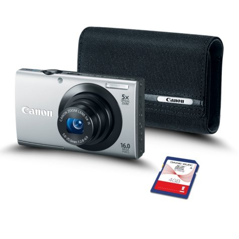 Canon PowerShot A3400 IS Silver Bundle with 4GB SD Card and Soft Case