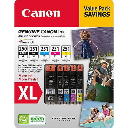 Canon PGI-250XL/CLI-251 XL Ink Tank Catridge, Black/Cyan/Magenta/Yellow/Pigment Black (5 pk.)