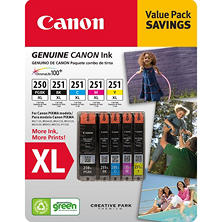 Canon PGI-250XL/CLI-251 XL Ink Tank Catridge, Black/Cyan/Magenta/Yellow/Pigment Black (5 pk.)