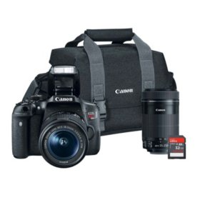 Canon EOS Rebel T6i 24.2MP Digital SLR Bundle with 18-55mm IS STM Lens, 55-250mm IS STM Lens, 32GB SD Card, and Camera Bag