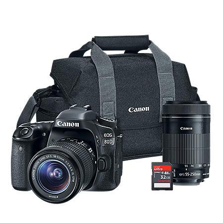 Canon EOS 80D DSLR Camera 2 Lens Bundle