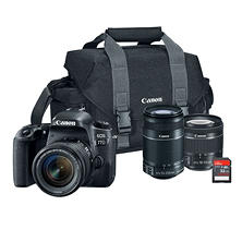 Canon EOS 77D 24.2MP DSLR Bundle with EF-S 18-55mm STM Lens, 55-250mm STM Lens, 32GB SD Card, and Camera Bag