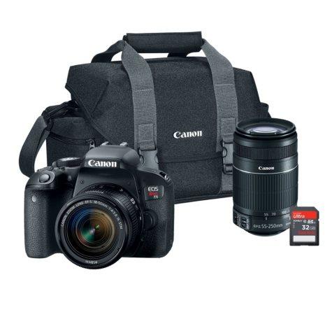 Canon EOS Rebel T7i 24.2MP Digital SLR Camera Bundle with EF-S 18-55mm STM Lens, 55-250mm Lens, 32GB SD Card, and Camera Bag