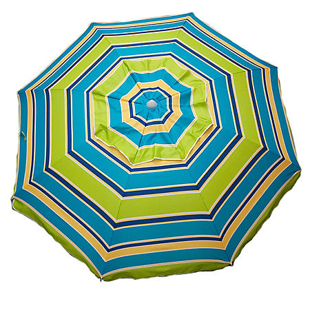 7-Ft. Beach Umbrella Pink or Green Stripe With Travel Bag