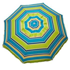 7 Ft Beach Umbrella Pink Or Green Stripe With Travel Bag